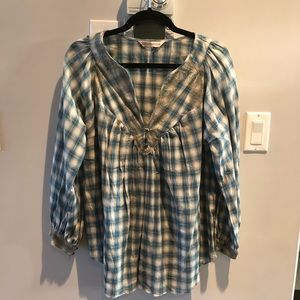 Rebecca Taylor Plaid Lace Trimmed Peasant Top